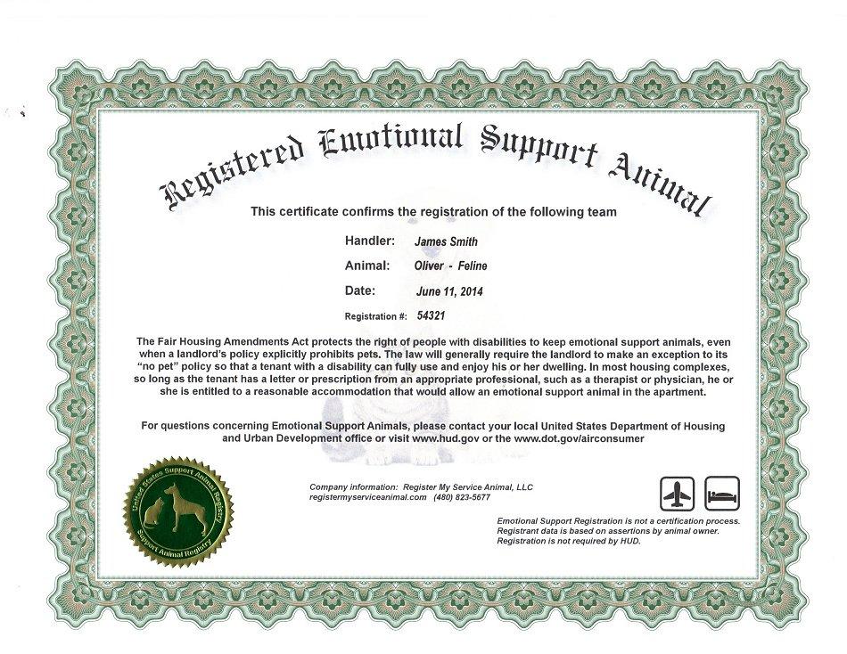 ESA Cat Certificate